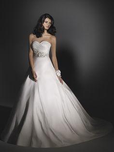 Simple with Beading on Waistline Wedding Dress
