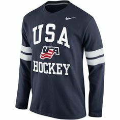 USA Hockey Nike Thermal Long Sleeve T-Shirt Olympic Sports, Olympic Team, Team Usa Hockey, Usa Gear, Us Olympics, Superdry Mens, Thermal Long Sleeve, Athletic Outfits, Tommy Hilfiger