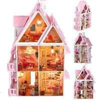 Kits DIY Wood Dollhouse Villa Miniature With LED+Furniture+cover Doll house Gift