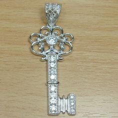 Micro Setting Brilliant Cut White CZ 925 Sterling Silver Key Initial Pendant