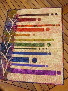 Rainbow Batik art quilt....Really Cool Quilt!!   I could use my dyed graduation fabrics