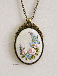 Needle felted necklace with hand embroidered flowers, pendant, romantic necklace, shabby chic
