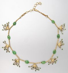 GOLD, EMERALD, RUBY, SEED PEARL AND DIAMOND NECKLACE. Indian or Indian style