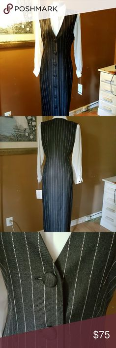 Neiman Marcus Career Profesional Suit Sz 8 NWT Charcoal grey pinstripe dress with white blouse. Measurements are chest 40 ins for the blouse and 36 ins  for the dress the length of the dress is 47 ins  waist is 32 ins sleeve  is 18 ins from under the armpit. Neiman Marcus Dresses Midi