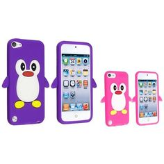cool I Touch Cases for Girls | eForCity Silicone Case with Silicone Case for iPod touch 5G (Purple Penguin with Hot Pink)