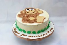 Cheeky monkey cake to celebrate Ryan's first birthday. Inside: vanilla sponge with raspberry filling and vanilla buttercream. I hope he liked it! - http://ift.tt/1Q9cLnn