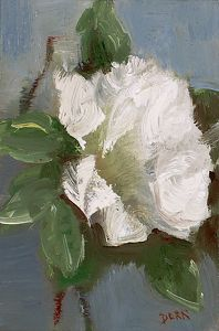 "White Rose Petal by Andrea Dern Oil ~ 6"" x 4"""