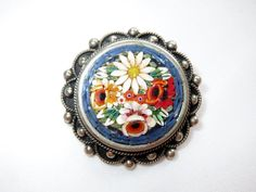 Vintage Early Italian Glass Millefiori Micro Mosaic Blue Floral  Brooch / Pin