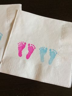 Twins Little Footprints Napkins - Set of 50 These adorable Little Footprints napkins are perfect for a baby shower or gender reveal party! Each