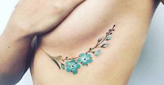 Tattoo Artist: Pis Saro. Tags: styles, Illustrative, Nature, Flowers, Forget-me-not. Body parts: Under Breast.