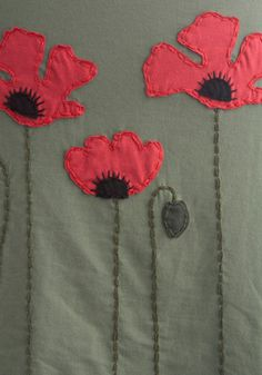 appliqued poppies