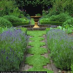A formal herb garden, with a path of camomile designed to release its aroma when walked upon, is edged with boxwoods and lavender.