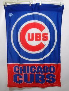 Chicago Cubs Baseball MLB Blue Red Logo Banner Flag 29 x 41 Rico Industries 2003 #RicoIndustries #ChicagoCubs