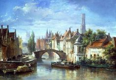 BARGES ON THE CANAL IN BRUGES, BY PIERRE JUSTIN OUVIE