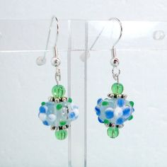 Handmade earrings lampwork pale blue green by RememberThis3, $13.25