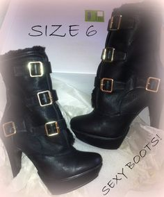 Custom Black Boots with Gold Buckles Sexy Boots by PinkArtCouture, $39.99