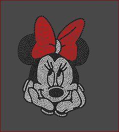 Disney's Minnie Mouse Filled Inspired Fan Art Rhinestone Iron On Transfer Bling   eBay