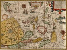 Jan Huygen Van Linschoten map of China, Japan, Korea, Southeast Asia, the Philippines, Straits of Malacca, Borneo and Java .   Linschoten's map is the first published map of the Far East to be prepared prijmarily from Portuguese sources.   Linschoten also depicts information from the travel account of Marco Polo, inlcuding the location of the mythical land of Beach provincia auriferain the region where Australia would eventually be discovered. On the mainland, the course of the Mekong is…