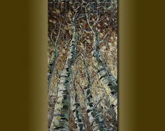 Seasons Birch Tree Original Textured Palette Knife Landscape Painting Oil on Canvas Modern Art 18X36 by Willson