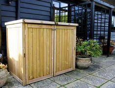 This windy weather may have your bins in a mess so why not keep the safe and tidy in one of our wheelie bin stores Outdoor Storage Bin, Patio Storage, Garden Storage Shed, Grey Garden Furniture, Cheap Patio Furniture, Bin Store Garden, Outdoor Cupboard, Bin Shed, Outdoor Trash Cans