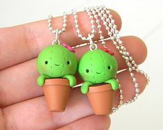 Fimo cute cactus, succulent plants, kawaii, Fimo Cacti, Cactus in the jar with flower, Polymer clay, necklace