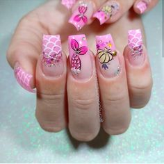 Cute Nail Art, Nail Art Diy, Easy Nail Art, Diy Nails, Manicure, Hello Nails, Gel Nail Art Designs, Mermaid Nails, Beach Nails