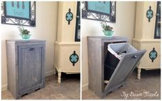 hide your ugly trash can with this brilliant fix, diy, kitchen design, woodworking projects Interior should be for standard kitchen 13 gallon bins Diy Wood Projects, Home Projects, Woodworking Projects, Woodworking Furniture, Diy Kitchen Cabinets, Wood Cabinets, Ugly Kitchen, Hidden Kitchen, Kitchen Sink