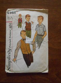 Vintage 1950's Simplicity Sewing Pattern # 4161 Boys' Shirt, Vest & Reversible Vest ~ Short or Long Sleeves ~ Sz 10 Chest 28