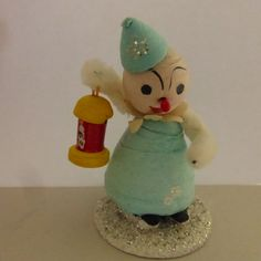 Vintage Mid Century Spun Cotton Ornament with Lantern by papertales on Etsy