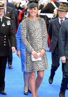 """Duchess of Cambridge opted for a Dalmatian mac by Hobbs for the """"Royal Princess"""" ship naming ceremony at Southampton on 13th June 2013 - her final solo public engagement before going on maternity leave."""