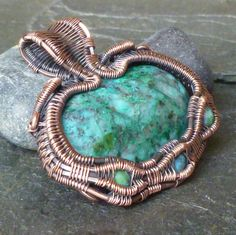 Chrysocolla in Copper Wire Wrapped Pendant  Wire by CoparAingeal, $65.00