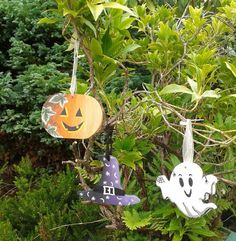 Hanging Halloween pumpkin, ghost and hat decorations Halloween Themes, Halloween Pumpkins, Halloween Decorations, Hat Decoration, Grim Reaper, Ghosts, Presents, Hand Painted, Drop