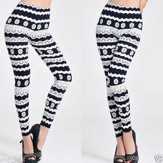 Women-Stretch-Lace-Pattern-Bold-Printed-Doily-Lolita-Tight-Legging-Pencil-Pants