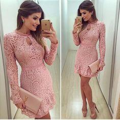 Floral Lace Long Sleeve Mini Dress | Daisy Dress for Less | Women's Dresses & Accessories