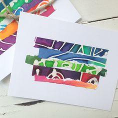 Colorful Paper Batik Note Cards Batik Summer Note by fishwarp
