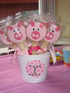 Pig sugar cookies on a stick