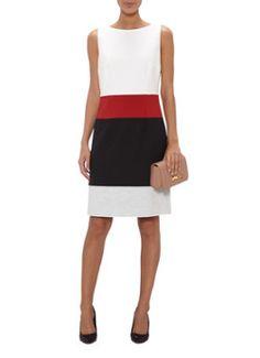 HUGO BOSS Divana mouwloze jurk met colorblocking • de Bijenkorf