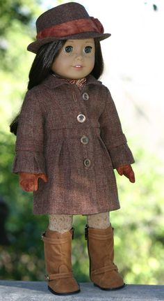 American Girl Doll Clothes-Bell-Sleeve Wool Coat; Fedora; Suede Gloves by Doll Closet Heirlooms on Etsy, $95.00