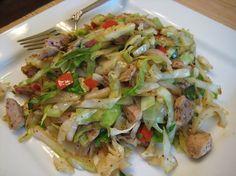 CHICKEN CABBAGE STIRFRY ~3 chicken breast halves, cut in strips ~1 tsp veg oil ~3c green cabbage, shredded ~1 tbsp cornstarch ~1⁄2 tsp ground ginger ~1⁄4 tsp garlic powder ~1⁄2c water ~1 tbsp soy sauce Directions Heat oil in frying pan. Add chicken & stir fry over medium-high heat. Add cabbage & sauté 2 minutes until cabbage is crisp-tender. Mix cornstarch & seasonings; add water & soy sauce; mix until smooth. Stir sauce into mixture. Cook until sauce has thickened & chicken is coated, (~1…