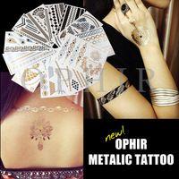 2015 destello metálico tatuajes oro plata pegatinas tatuaje diseño de la joyería collar de mujer a prueba de agua Giltter tatuaje arte corporal