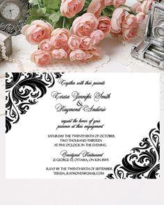 Simple Wedding Invitation Damask Printable Invite by PapierCouture1