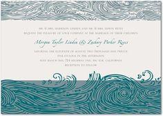 Signature White Wedding Invitations Ocean of Love - Front : Light Gray
