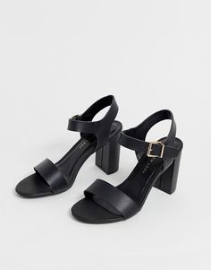 Find the best selection of New Look Wide Fit block heeled sandals in black. Shop today with free delivery and returns (Ts&Cs apply) with ASOS! Block Sandals, Block Heels, High Street Brands, Heeled Sandals, Real Leather, Fitness Fashion, New Look, Open Toe, Ankle Strap
