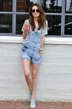 Dungarees, striped shirt, sunglasses