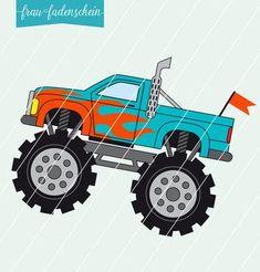 """Applikationsvorlage - """"Monstertruck"""" - Frau Fadenschein - Glückpunkt."""