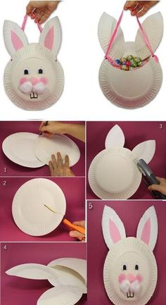 DIY Easter Bunny Bag Using Paper Plates - Find Fun Art Projects to Do at Home and Arts and Crafts Ideas Daycare Crafts, Bunny Crafts, Easter Crafts For Kids, Preschool Crafts, Diy For Kids, Easter Ideas, Spring Arts And Crafts, Basket Crafts, Easter Holidays