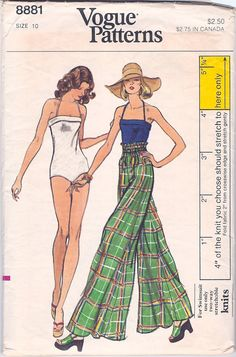 Retro Swimsuit Vintage Vogue 8881 Sewing Pattern One Piece Bathing Suit Extra Wide Leg Flared Pants Bust 32 Clothing Patterns, Dress Patterns, Vintage Outfits, Vintage Fashion, Vintage Clothing, Vintage Vogue Patterns, Circle Dress, Vintage Swimsuits, Mode Vintage