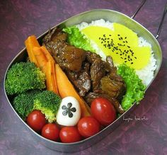 Meat and rice bento lunch
