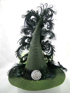 Mini Witch Hat  Lime Green Celtic Knot by FirstSightCreations