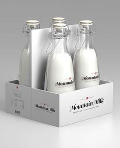 Le packaging suivant a pour particularité de raconter une histoire. En effet, il fait référence au temps où les laitiers livraient leurs bouteilles de lait devant les portes des maisons. Pour cela, il utilise comme matériaux le verre et rassemble 4 bouteilles en un pack semblable à ce qui se faisait autrefois. Le bouchon est également conforme à celui de l'époque. Enfin, l'accent est mis sur le produit et non sur la bouteille (bouteilles transparentes), symbole du côté naturel d'antan.